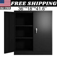 Steel Garage Tool Storage Cabinet 2 Adjustable-Shelf With Lockable Doors Safe US