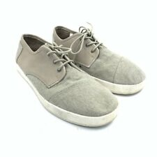 Toms Mens Canvas Shoes Gray Round Toe Lace Up Sneakers 10.5 EUR 44.5 M