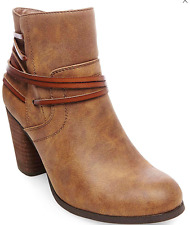 NEW STEVE MADDEN MADDEN GIRL DENICE COGNAC ANKLE BOOTIES WOMENS 10 BOOTS