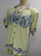 mens TOMMY BAHAMA RELAX yellow FLORAL SILK S/S BUTTON UP SHIRT LARGE HAWAIIAN
