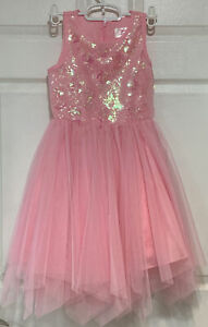 Justice GirlsSz 7 Sequin Dress Bright Hot Pink Tulle Dance Holiday Party
