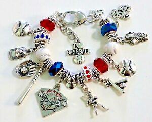 "Los Angeles Dodgers Inspired Handmade Charm Bracelet 6 3/4"" plus 1 1/2"" Extender"