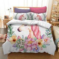 Kids Unicorn Flower Duvet Cover Set Comforter Cover Pillow Case Bedding Set 3D