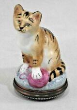 Halcyon Days Enamel Bonbonniere Box Cat w/ Ball of Yarn