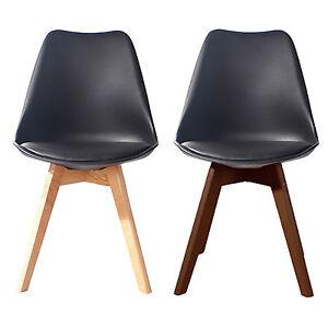 BLACK Jamie Dining Chair Wooden Retro Designer Soft Pad Faux Leather Walnut/Pine