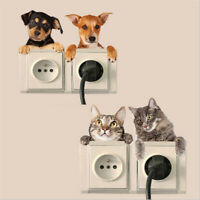 KQ_ FP- 4Sheet 3D Dog Cats Wall Sticker Home Switch Decor Decal Mural Art Remova