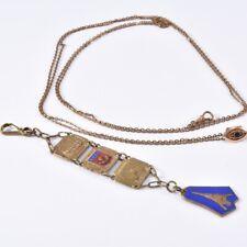 f67i17- Alte Uhrenkette und Anhänger, teils emailliert