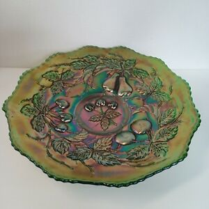"""Carnival Glass Bowl Norwood Cherries and Pears Iridescent Green Fluted 8.5""""x 2 """""""
