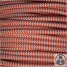 Textilkabel Stoffkabel Lampen-Kabel Stromkabel, Orange Zick Zack 3 adrig