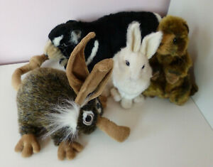 Hansa Collection of 4 Animals Soft Plush Toys Rabbit Tasmanian Devil Wood Hog
