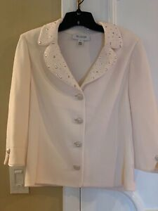 St. John Collections white jacket with rhinestone button glitter collar size 6