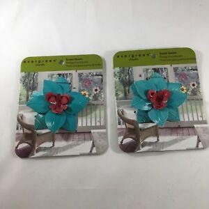 Evergreen Garden Magnetic 3D Blue Pink Flower Screen Saver Doors Windows Set 2