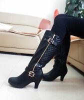 Women's Laadies Gold Buckle Knee High Boots Zip Mid Heel Block Black Brown Size