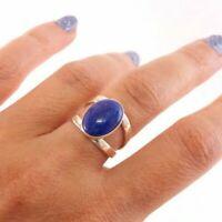 Lapi Lazul Solid 925 Sterling Silver Ring Meditation statement Handmade Ring