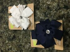 crazy 8 Girl Pony Tail holders new hair ribbon navy blue white lot of 4 uniform