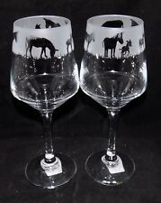"""New Etched """"DONKEY"""" Wine Glass(es) - Free Gift Box - Large 390mls Wine Glass"""