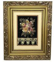 "Vintage Satin Ribbon Art Lace Floral Vase Black Velvet Gold Frame 10 x 12"" Gift"