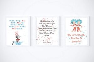 Dr Suess Quotes A5 Pack of 3 Baby Nursery Print Children Bedroom Decoration