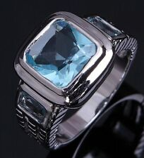 Aquamarine 18K Gold Filled Fashion Rings Gift New listing Size 12 Mens Emerald Cut Wedding