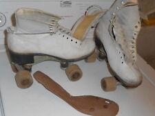 Vtg. Women's White American Eagle Leather Roller Skates