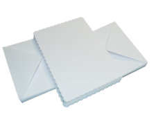 "50 x 5""x 7"" WHITE SCALLOPED BLANK CARDS 300gsm & ENVELOPES CARD MAKING CRAFT 835"