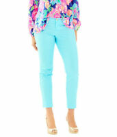 NEW Lilly Pulitzer Kelly Skinny Ankle Pants Light Blue Size 0 Fast Ship