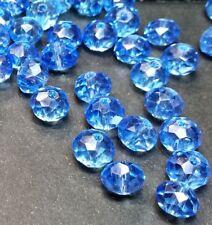 20 perles 8x6mm à facettes en verre bleu ciel //4