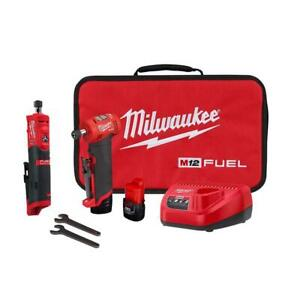 Milwaukee Right Angle Straight Die Grinder Kit 1/4 in 12-Volt Cordless Batteries