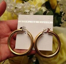 Gold Sterling Silver Hollow Hoop Earrings Brand New ! Argento Vivo 18K