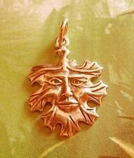 LOOK Celtic Nature God Charm Green man Yellow Gold Plated Greenman Jewelry New