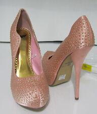 "pink/gold star 5.5""high  Heel 1.5"" hidden platform l prom/wedding shoes. size  6"