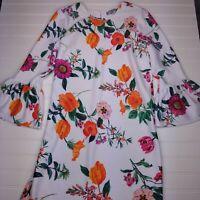 ASOS NWT Women's White Floral Print Bell Sleeve Mini Dress Petite Size 4 Q18