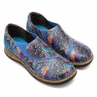 SOCOFY Women Folkways Pattern Splicing Stitching Slip On Shoes Boat Flats Loafer