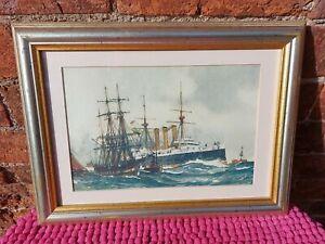 c1901 Print HMS KENT Passing South Sand lightship by Charles Dixon