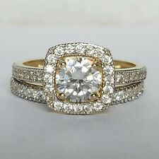 1.7 C 14k yellow Gold 2 piece halo square  Engagement Wedding Ring band Set  s 7