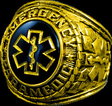 Emergency Paramedic Fire Sapphire Gold Ring Size 8 9 10 11 12 13