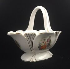 Vintage Decorative Loucarte Portugal Porcelain Basket Bowl
