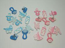 12 Holz Streuteile Baby rosa/hellblau Streudeko Kartengestaltung Tischdeko Taufe