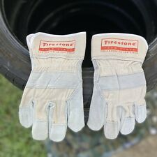 NEW Firestone Farm Tires Leather Safety Cuff Gloves Men's One Size Gray Suede