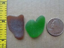 GENUINE BEACH SEA GLASS GREEN BROWN SURF TUMBLED FROSTED HEART SHAPE PENDANTS F1