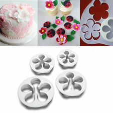 4pcs Rose Flower Cake Fondant Sugarcraft Mold Cutter Gum Paste Decoration Tool