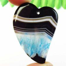 Agate Heart Pendant Bead L33385 Black White Blue Druzy Geode Onyx