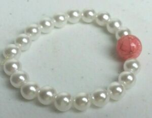 Handcrafted Bracelet Faux Pearl and Pink Crackled Glass Bead Stretch USA