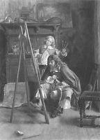 DUTCH ART CONNOISSEUR CRITIC STUDIES STUDENT PAINTING ~ 1879 Art Print Engraving