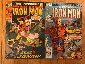Iron Man issue #38 (1971) and Iron Man Annual #5 (1982).