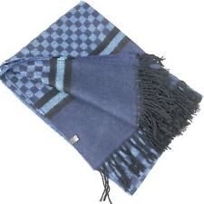 "Mens Winter Scarf Shawl Wrap Wool Blend Blue Length 67""Check"