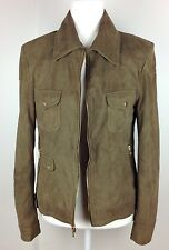 Elie Tahari Lamb Leather Jacket Soft Suede Coat Full Zip Collar Military Green 0