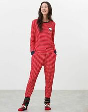 Joules Womens Sleepwell Christmas Family Jersey Pyjama Set - Red Strp