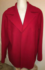 Talbots Woman Red Wool Coat Jacket 16W Oversized Collar Pristine