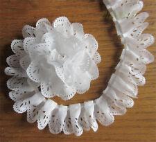 1yd Vintage Gathered Lace Edge Trim Bridal Wedding Pleated Organza Ribbon Sewing